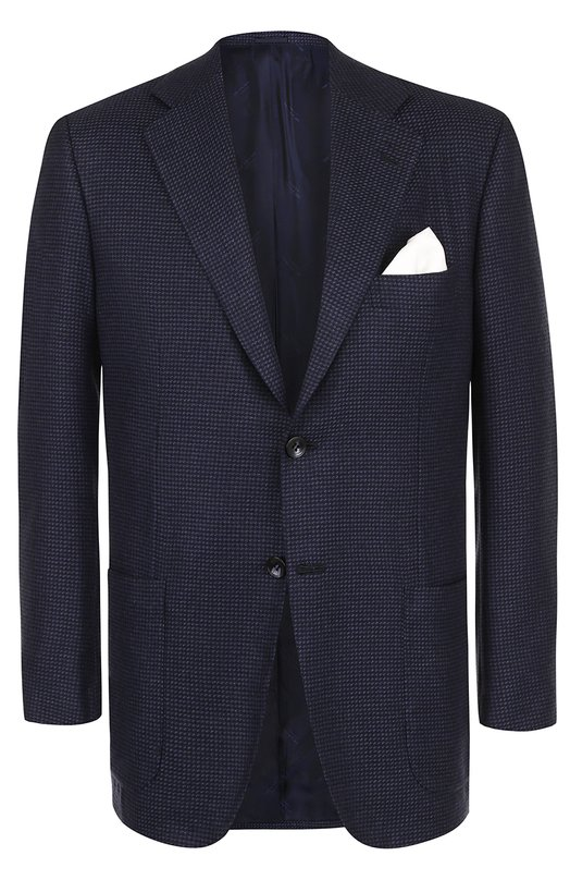 Купить Однобортный пиджак из смеси кашемира и шелка Kiton, UG81K01P31, Италия, Темно-синий, Кашемир: 60%; Шелк: 40%; Подкладка-купра: 100%;