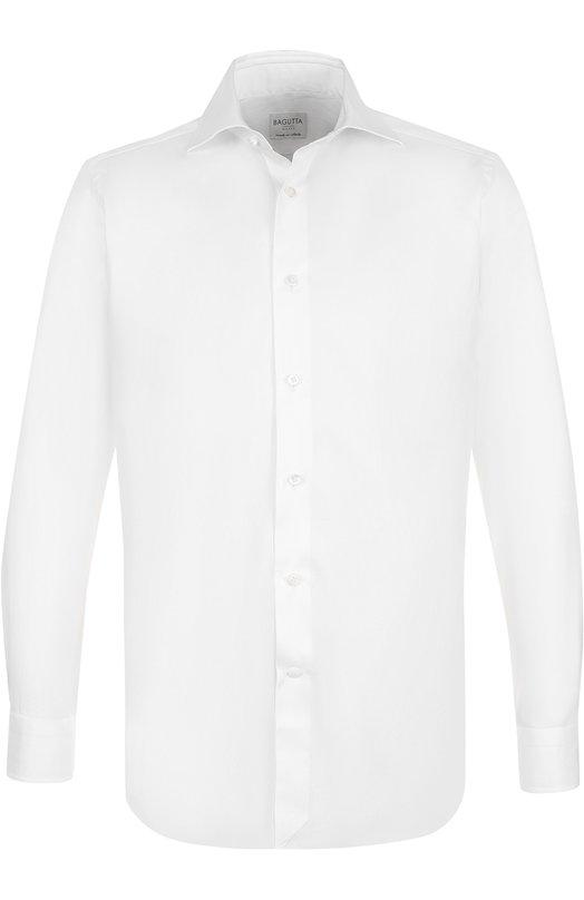 Купить Хлопковая сорочка с воротником акула Bagutta, B345L/05872, Италия, Белый, Хлопок: 100%;