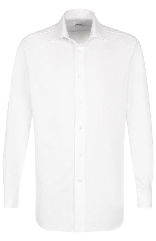 Купить Хлопковая сорочка с воротником кент Brioni, RCL9/PZ015/PG, Италия, Белый, Хлопок: 100%;