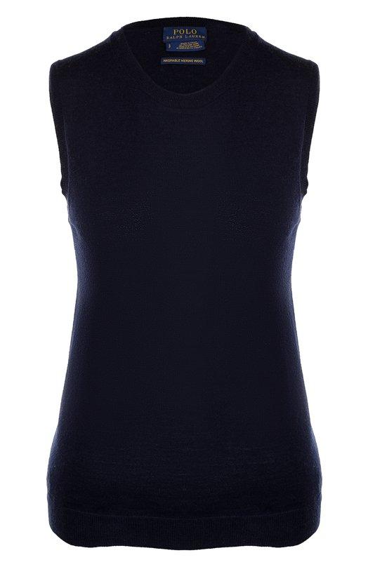 Купить Шерстяной топ с круглым вырезом Polo Ralph Lauren, 211662210, Китай, Синий, Шерсть: 100%;
