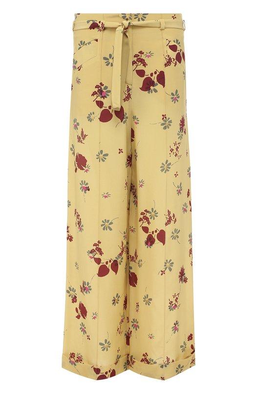 Шелковые брюки с цветочным принтом и поясом Valentino