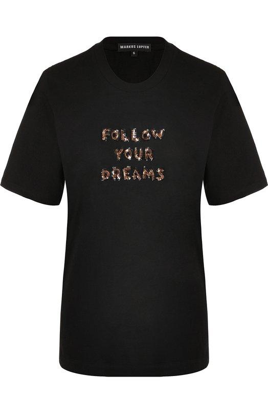 Купить Хлопковая футболка с пайетками Markus Lupfer, TP1114, Индия, Черный, Хлопок: 100%;