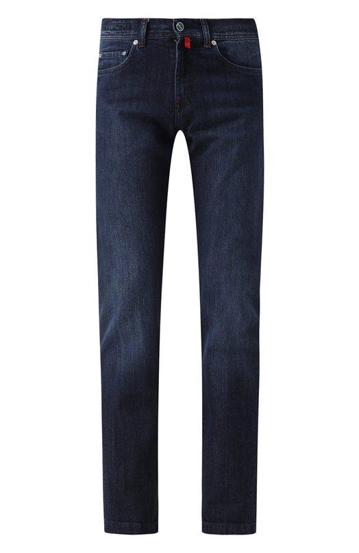 Джинсы прямого кроя с потертостями Kiton, UPNJS1J02P65, Италия, Темно-синий, Хлопок: 98%; Эластан: 2%;  - купить