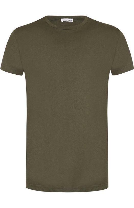 Купить Хлопковая футболка с круглым вырезом Tomas Maier, 482769/M0140, Италия, Хаки, Хлопок: 100%;