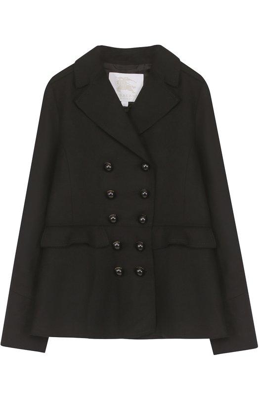 Купить Укороченное пальто из шерсти с оборками Burberry, 4055700, Босния и Герцеговина, Черный, Шерсть: 80%; Полиамид: 20%; Подкладка-купра: 100%;