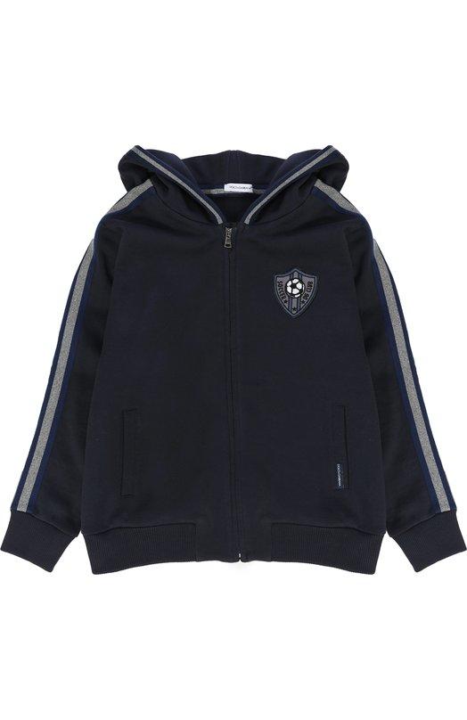 Купить Хлопковый кардиган с контрастной отделкой и нашивкой Dolce & Gabbana, 0131/L4JW0J/G7KVB/2-6, Италия, Темно-синий, Хлопок: 100%;