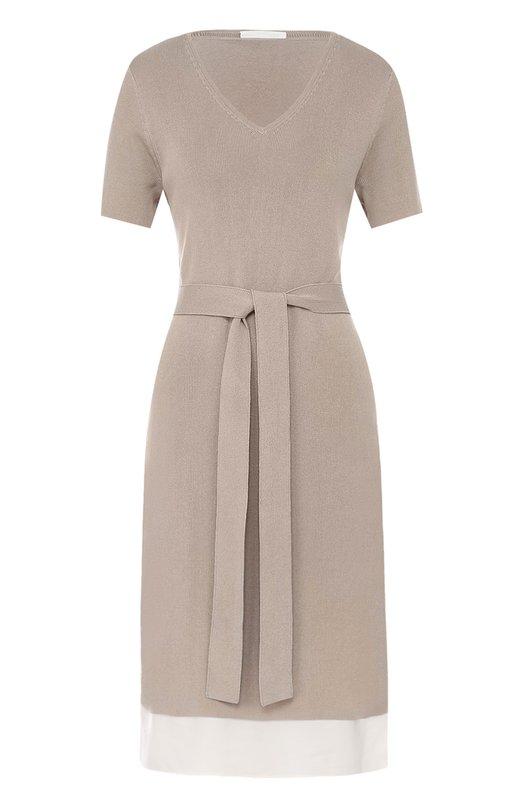 Купить Приталенное платье с поясом BOSS, 50371329, Китай, Бежевый, Вискоза: 69%; Хлопок: 31%;