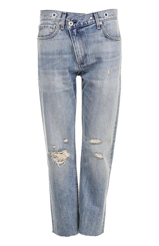 Купить Укороченные джинсы прямого кроя с потертостями Rag&Bone, W2141K168KKR, США, Голубой, Хлопок: 100%;