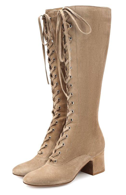 Купить Замшевые сапоги Mackay на шнуровке Gianvito Rossi, G80707.60RIC.CAS, Италия, Бежевый, Стелька-кожа: 100%; Подошва-кожа: 100%; Замша натуральная: 100%;