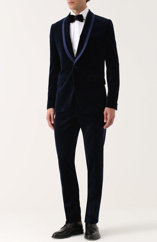 Бархатный приталенный смокинг с контрастной отделкой Givenchy