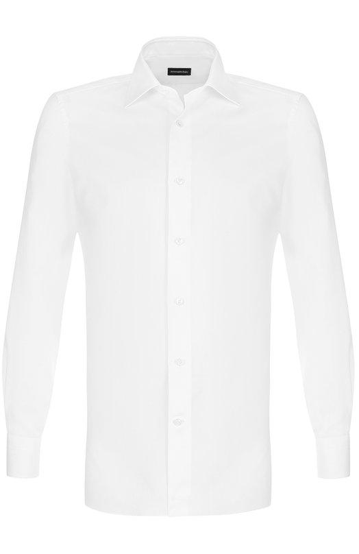 Купить Хлопковая сорочка с воротником кент Ermenegildo Zegna, 203901/9MS0PA, Румыния, Белый, Хлопок: 100%;