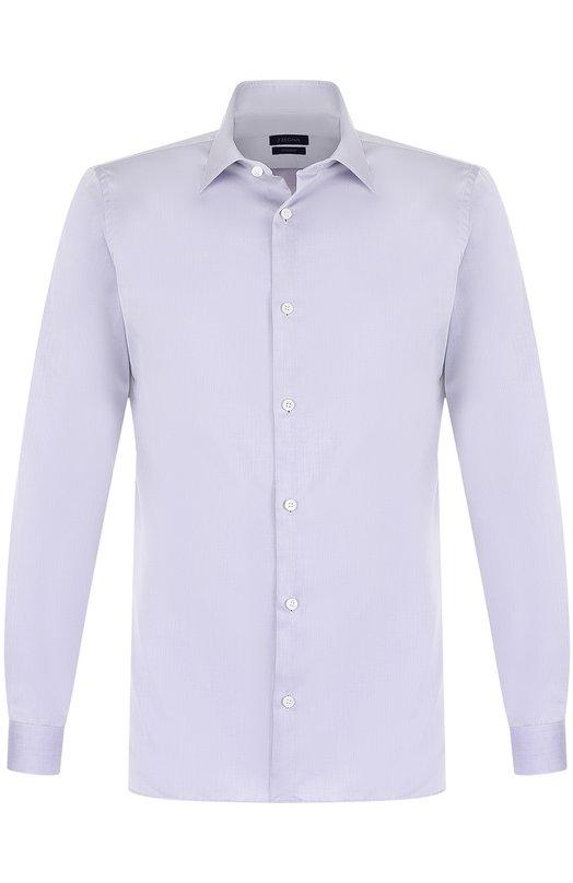 Купить Хлопковая сорочка с воротником кент Z Zegna, 205239/9DFLER, Египет, Сиреневый, Хлопок: 100%;