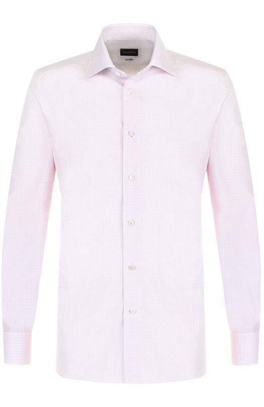 Купить Хлопковая сорочка с воротником кент Ermenegildo Zegna, 201258/9MS0BR, Румыния, Светло-розовый, Хлопок: 100%;