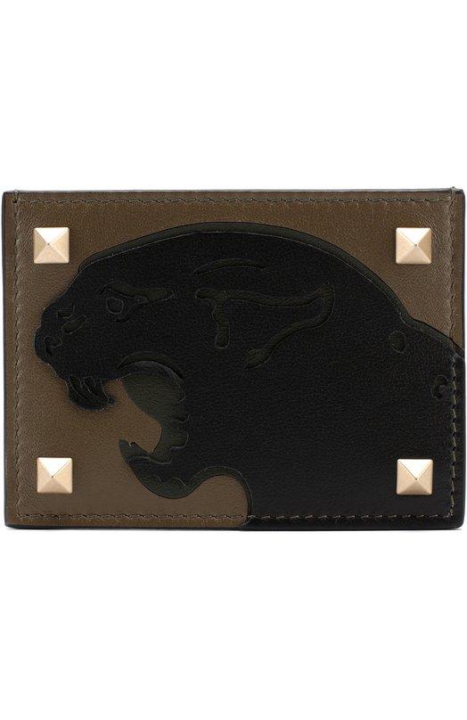 Кожаный футляр для кредитных карт с аппликацией Valentino
