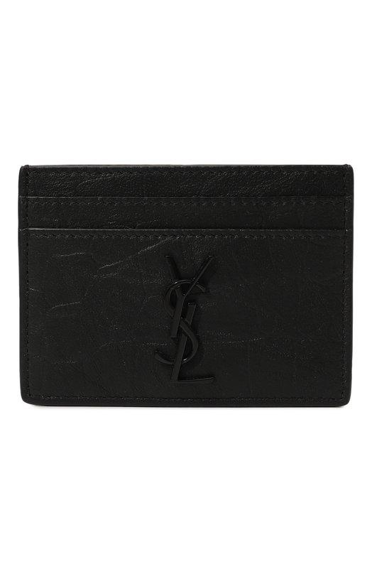 Кожаный футляр для кредитных карт с тиснением Saint Laurent