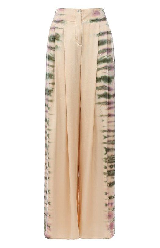 Купить Шелковые брюки с принтом Raquel Allegra, Y73-6629TD, США, Бежевый, Шелк: 100%;