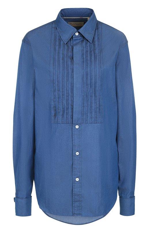 Купить Хлопковая блуза с декоративной отделкой Burberry, 4059076, Таиланд, Голубой, Хлопок: 100%;