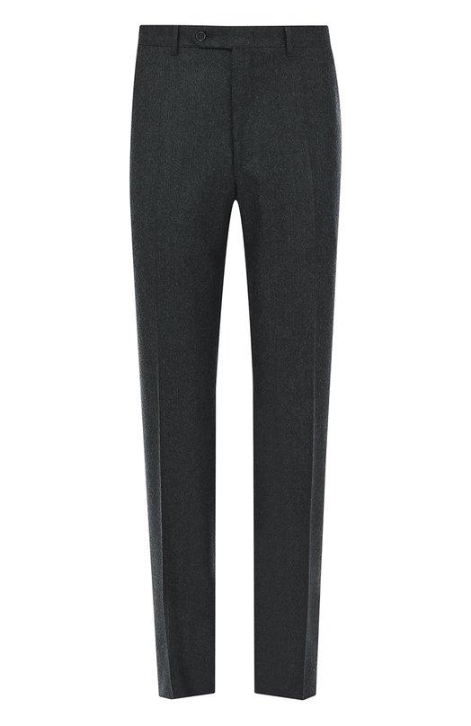 Купить Шерстяные брюки прямого кроя Canali, 71012/AN00019, Италия, Серый, Шерсть: 100%;