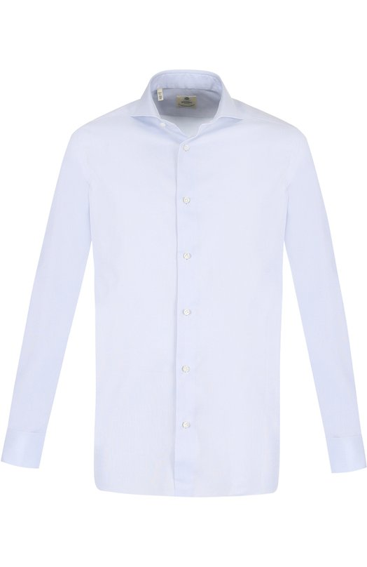 Купить Хлопковая сорочка с воротником акула Luigi Borrelli, EV06/TS5065, Италия, Голубой, Хлопок: 100%;