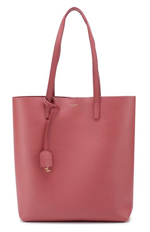 Купить Кожаная сумка-шоппер с косметичкой Saint Laurent, 454203/CSV0J, Италия, Розовый, Кожа натуральная: 100%;