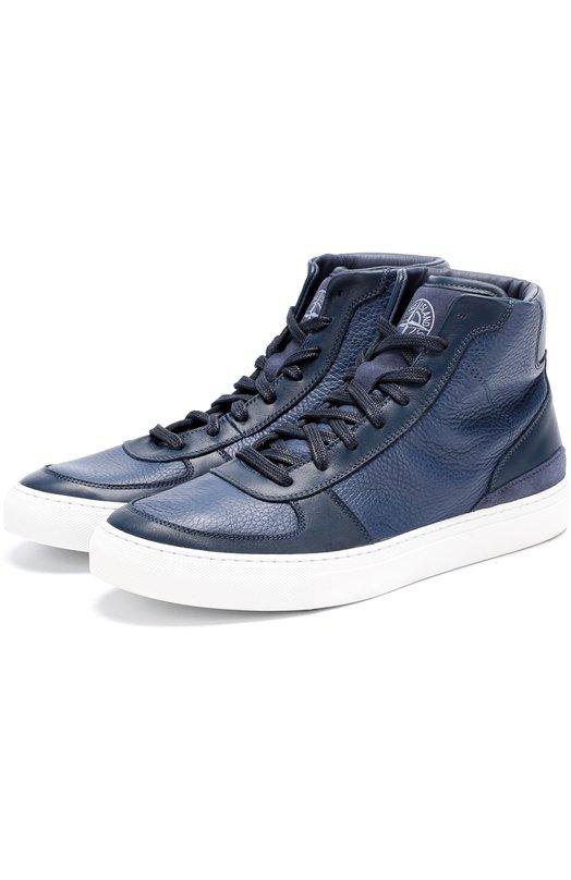Купить Высокие кожаные кеды на шнуровке Stone Island Италия 5183351 6715S0466