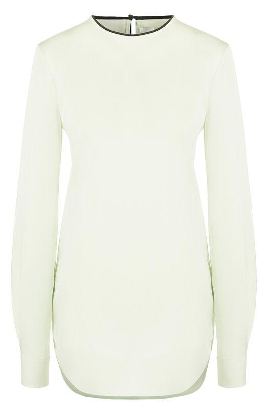 Купить Блуза прямого кроя с декоративной отделкой Victoria, Victoria Beckham, TPVV 079 PAW17 FLUID VISC0SE/SILK, Турция, Бирюзовый, Вискоза: 98%; Эластан: 2%; Отделка-шелк: 100%;