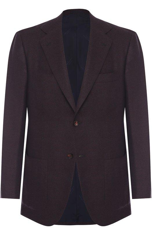 Купить Однобортный пиджак из смеси кашемира и шелка Kiton, UG81K01P31, Италия, Бордовый, Кашемир: 60%; Шелк: 40%; Подкладка-купра: 100%;
