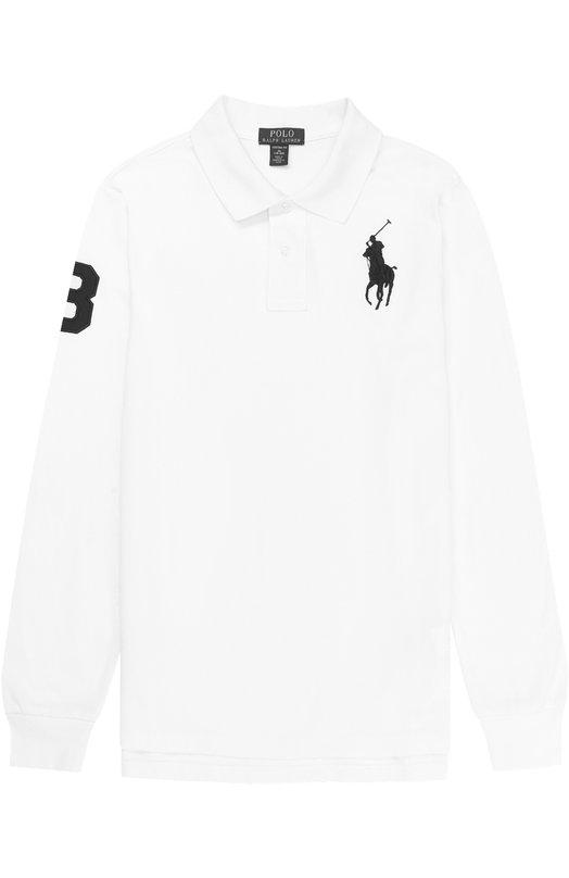 Купить Хлопковое поло с длинными рукавами и нашивкой Polo Ralph Lauren, 323674266, Китай, Белый, Хлопок: 100%;