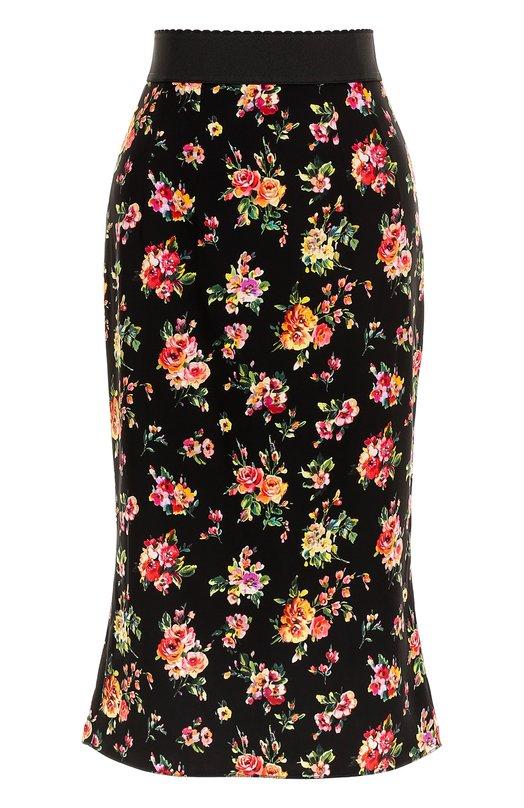 Шелковая юбка с цветочным принтом Dolce & Gabbana