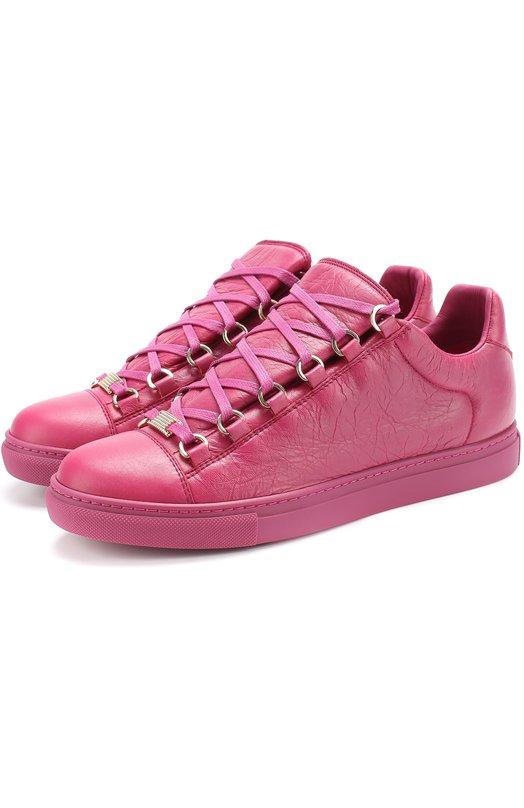 Купить Кеды Arena из фактурной кожи на шнуровке Balenciaga, 477285/WAD40, Испания, Розовый, Кожа натуральная: 100%; Стелька-кожа: 100%; Подошва-резина: 100%;