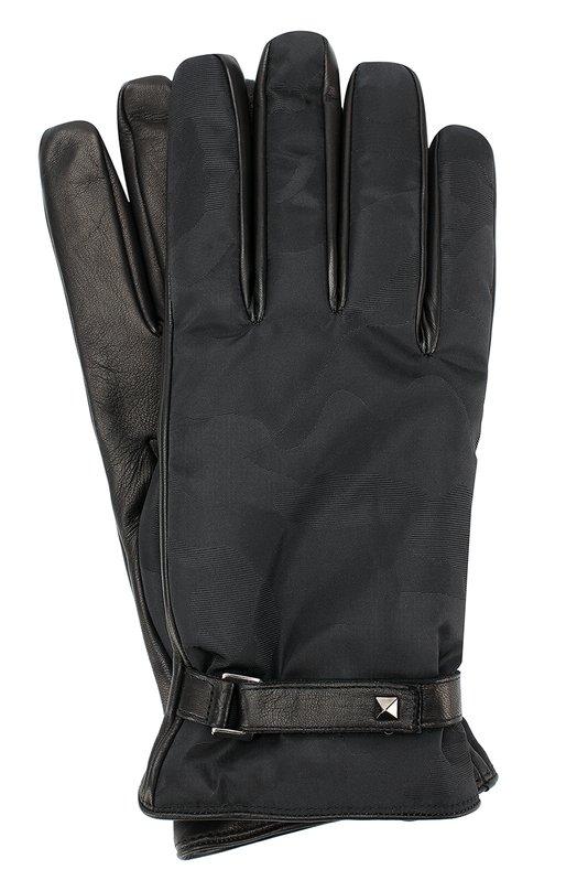 Кожаные перчатки Valentino Garavani с текстильной отделкой и камуфляжным принтом Valentino