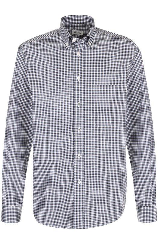 Купить Хлопковая рубашка в клетку с воротником button-down Brioni, SC02/06053, Италия, Голубой, Хлопок: 100%;