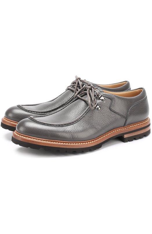 Купить Кожаные ботинки на шнуровке Kiton, USSULISN00352, Италия, Серый, Кожа натуральная: 100%; Стелька-кожа: 100%; Подошва-резина: 100%;