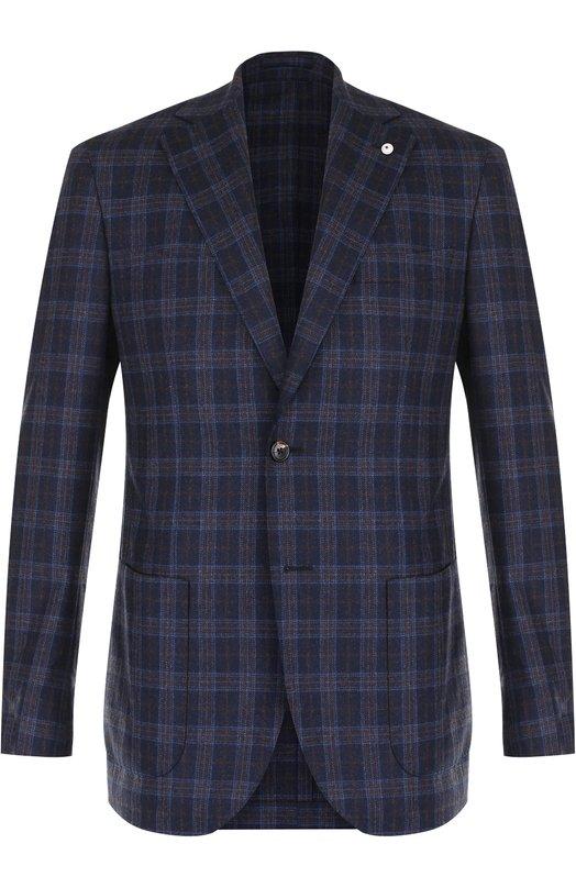 Купить Шерстяной однобортный пиджак в клетку L.B.M. 1911, 2403/72077, Италия, Темно-синий, Шерсть: 100%;