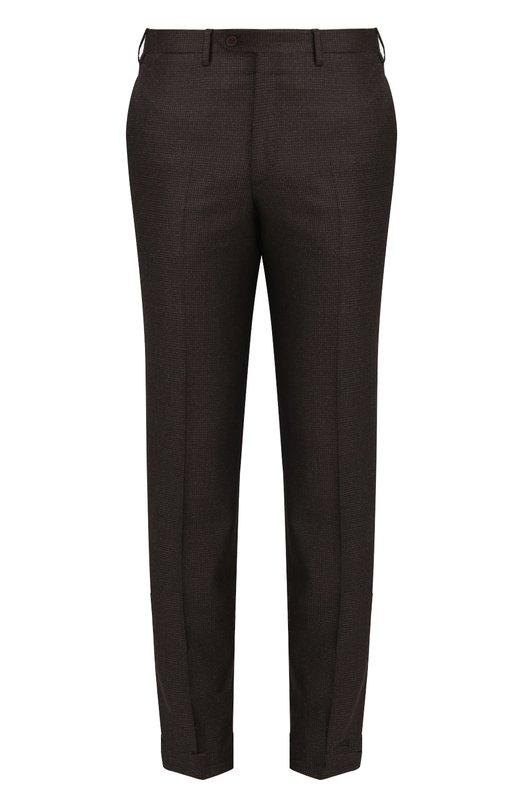 Купить Шерстяные брюки прямого кроя Brioni, RPL8/06AAE/MEGEVE, Италия, Коричневый, Шерсть: 100%; Подкладка-купра: 100%;