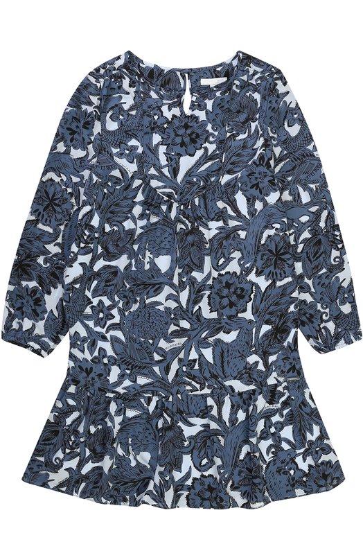 Купить Шелковое мини-платье с оборкой и принтом Burberry, 4052836, Китай, Синий, Шелк: 100%; Подкладка-полиэстер: 100%;