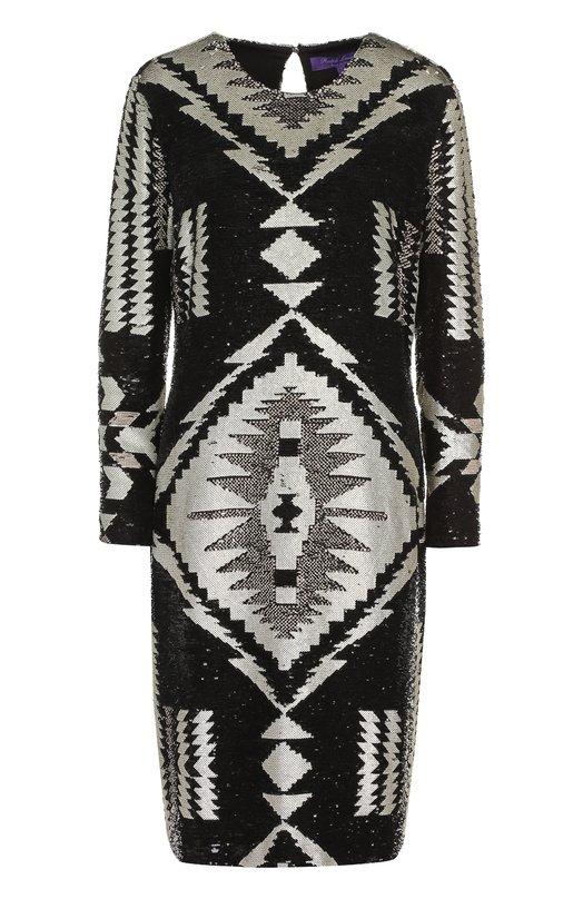 Купить Шелковое платье-миди с вышивкой пайетками Ralph Lauren, 916/IHC90/FHC90, Италия, Черный, Шелк: 100%; Подкладка-шелк: 100%;