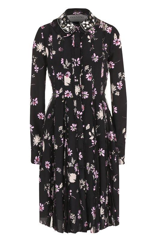 Купить Шелковое платье с принтом и декоративной отделкой Valentino Италия 5182096 NB3VADZ5/3D3