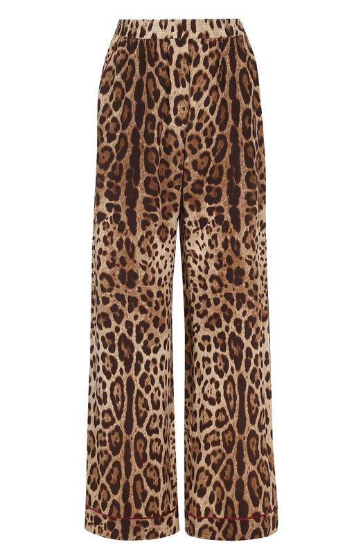 Шелковые брюки в пижамном стиле Dolce & Gabbana, 0102/FTAMPT/FS1SY, Италия, Леопардовый, Шелк: 100%;  - купить