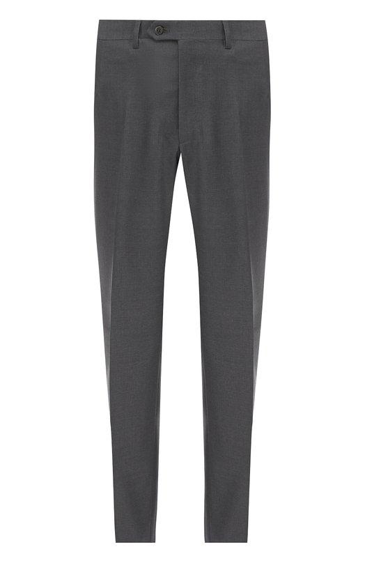 Купить Шерстяные брюки прямого кроя Brioni, RPL2/PZA0P/M0ENA, Италия, Серый, Шерсть овечья: 100%; Подкладка-купра: 100%;
