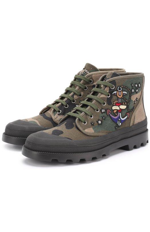Высокие текстильные ботинки на шнуровке с вышивкой Valentino