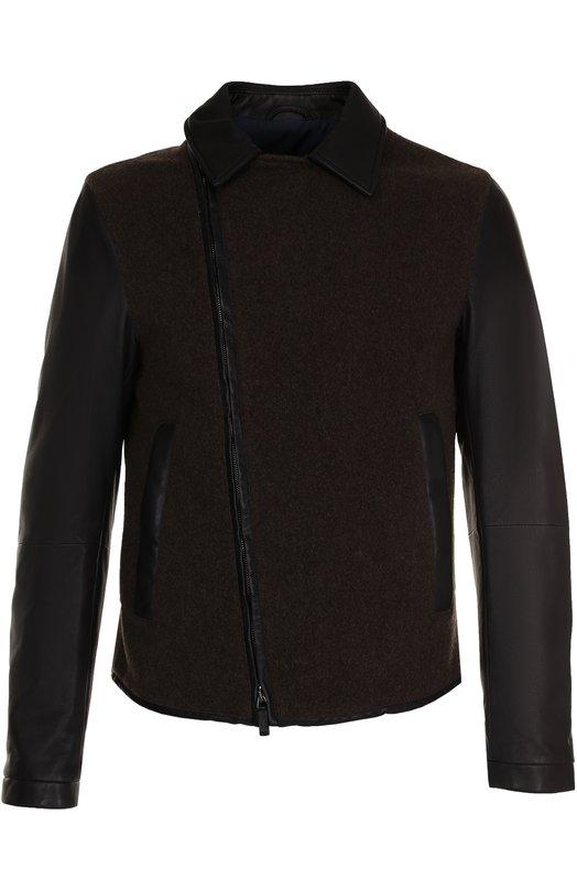 Купить Кожаная куртка с косой молнией и шерстяной отделкой Giorgio Armani, ZSR07P/ZSP09, Италия, Темно-синий, Подкладка-вискоза: 51%; Подкладка-хлопок: 49%; Кожа натуральная: 100%; Кашемир: 100%;