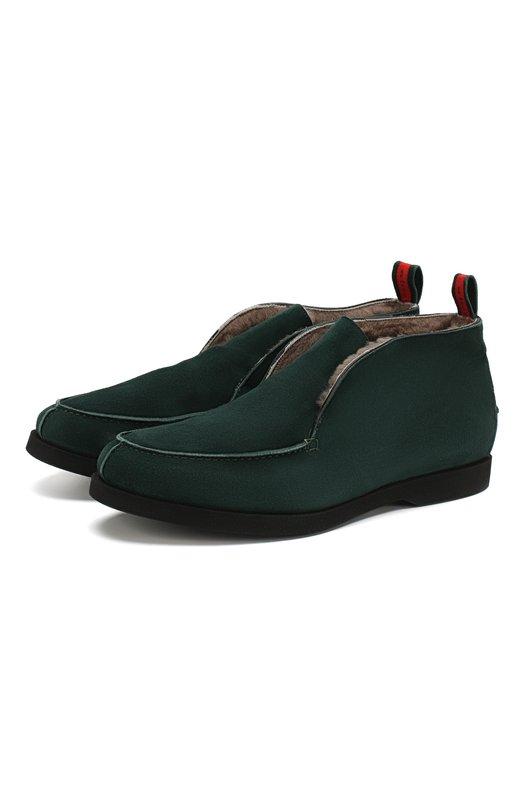 Купить Замшевые ботинки с внутренней меховой отделкой Kiton, USSFLYN00104, Италия, Темно-зеленый, Стелька-кожа: 100%; Подошва-резина: 100%; Замша натуральная: 100%; Подкладка-мех натуральный: 100%; Подкладка-мех/овчина/: 100%; Кожа: 100%;