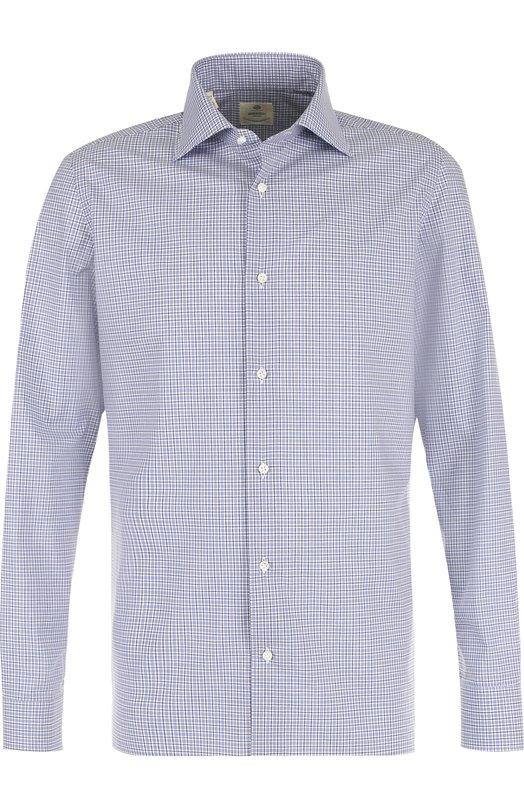 Хлопковая рубашка в клетку Luigi Borrelli. Цвет: синий