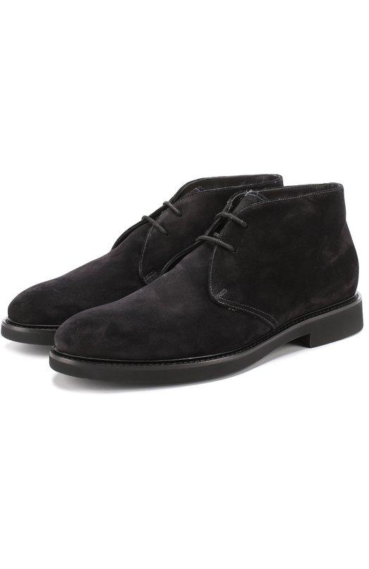 Купить Замшевые ботинки на шнуровке с внутренней меховой отделкой Doucal's, DU1018GEN0UM009NN00, Италия, Черный, Подошва-резина: 100%; Замша натуральная: 100%; Стелька-овчина: 100%; Подкладка-мех/овчина/: 100%; Кожа: 100%;