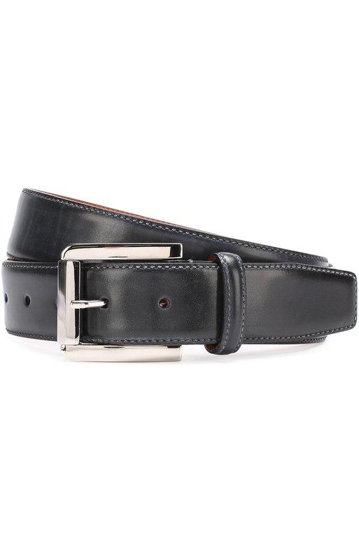 Купить Кожаный ремень с металлической пряжкой Santoni, CM35V0003B35EVVD, Италия, Темно-синий, Кожа натуральная: 100%; Пряжка-мет.сплав: 100%;