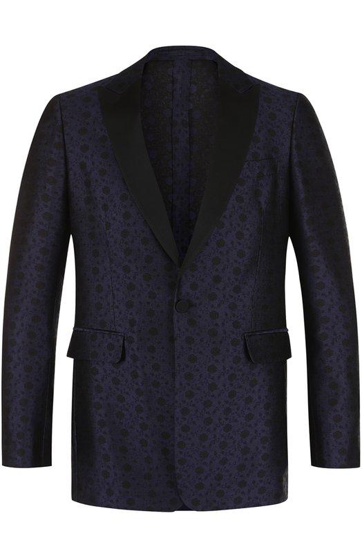 Вечерний пиджак из смеси шелка и шерсти с шалевыми лацканами Burberry, 4053020, Италия, Темно-синий, Шелк: 69%; Шерсть: 31%;  - купить