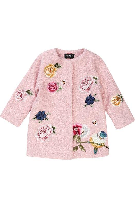 Купить Пальто прямого кроя с круглым вырезом и аппликациями Monnalisa, 790101F1, Китай, Розовый