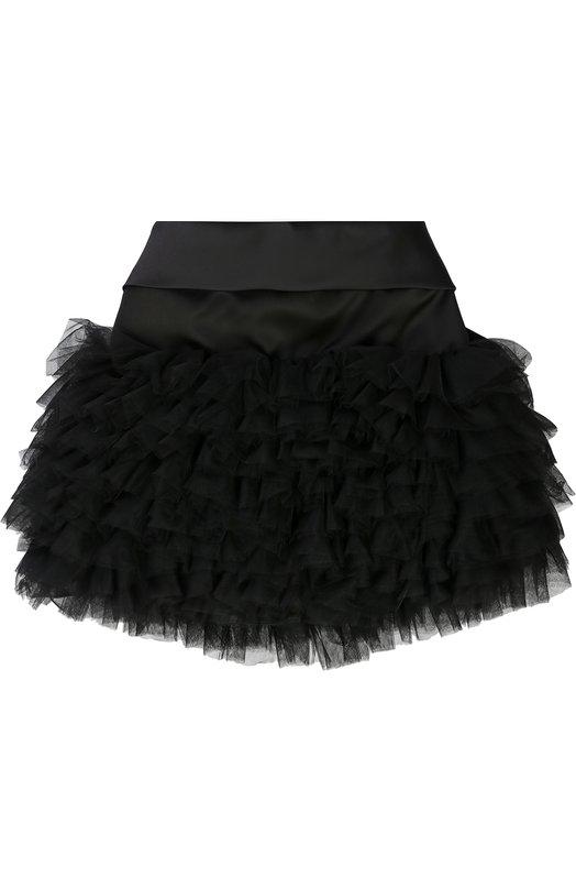 Мини-юбка с рюшами и бантом Monnalisa, 770700, Италия, Черный, Полиамид: 100%; Подкладка-полиэстер: 97%; Подкладка-эластан: 3%; Отделка-полиэстер: 100%;  - купить