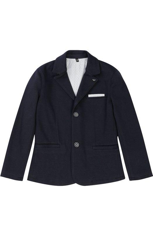 Однобортный пиджак джерси с логотипом бренда Armani Junior
